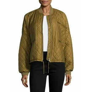 ⚡Free People green quilted boyfriend bomber jacket